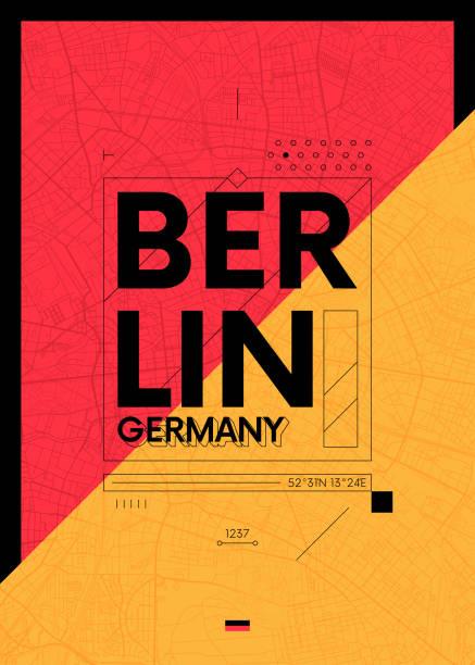 bildbanksillustrationer, clip art samt tecknat material och ikoner med typografi grafik färg affisch med en karta över berlin, resor vektorillustration - berlin street