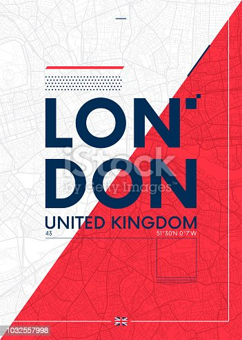 Typography graphics color poster with a map of London, Vector travel illustration