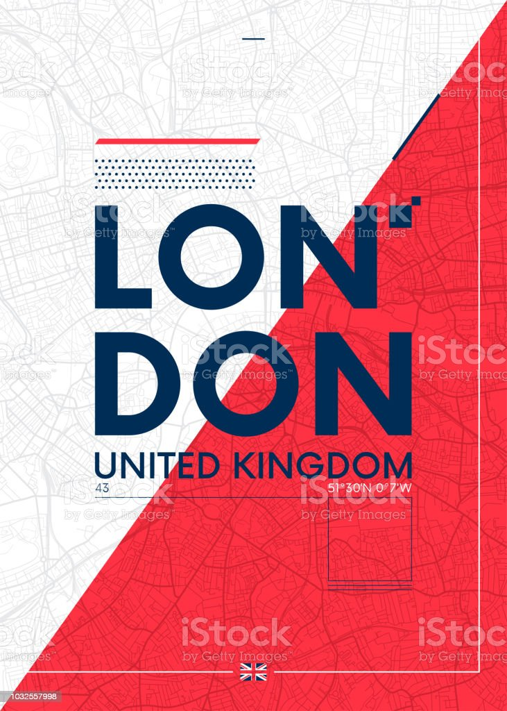 Typography graphics color poster with a map of London, Vector travel illustration vector art illustration