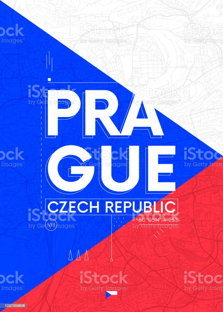 Prag Karte Europa.Typografiegrafik Farbe Poster Mit Einer Karte Von Prag Reisen