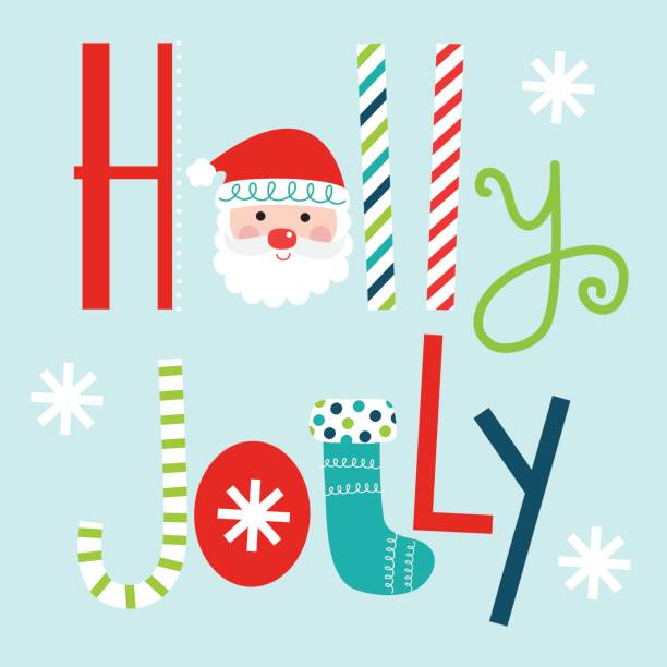 typography holly jolly design - cheerful stock illustrations