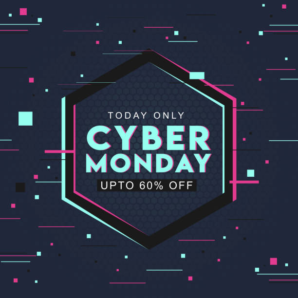 typography of cyber monday with 60% discount offer on abstract hexagon pattern background can be used as poster design. - cyber monday stock illustrations
