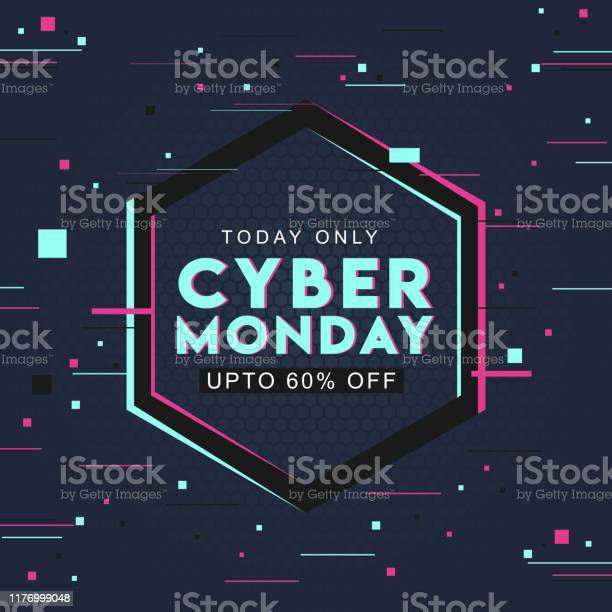 Typography Of Cyber Monday With 60 Discount Offer On Abstract Hexagon Pattern Background Can Be Used As Poster Design Stock Illustration - Download Image Now