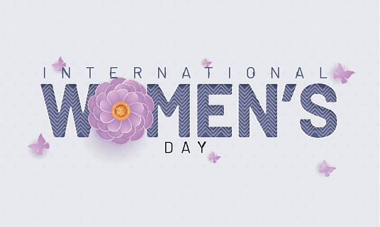 Typography of International Women's Day on white background with flowers and butterflies illustration.