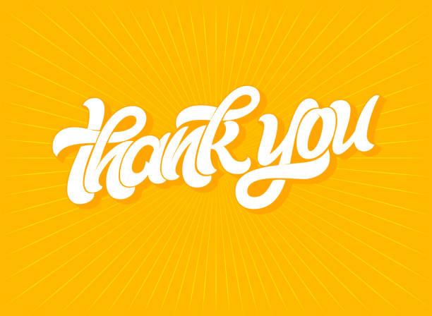 bildbanksillustrationer, clip art samt tecknat material och ikoner med tack typografi på ljusa orange bakgrund. moderna borste kalligrafi för gratulationskort, inbjudan, banderoll, affisch. vector mall med handritad bokstäver. vektorillustration. - tacksamhet