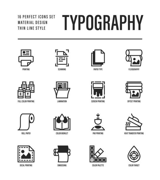 stockillustraties, clipart, cartoons en iconen met typografie, polygrafie dunne lijn icons set. printen, scannen, flexografie, offset, rolpapier, kleurenpalet, lamineren, warmteoverdracht afdrukken, reliëf. vector illustratie. - drukken