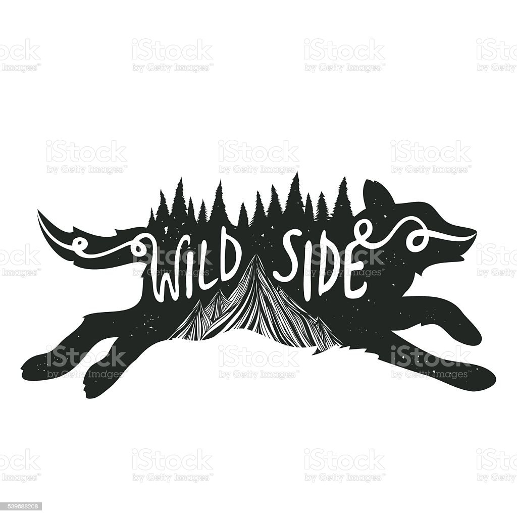 typography poster with running wolf silhouette royalty free stock vector art