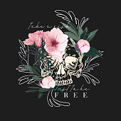 Typography print flowers with skull illustration