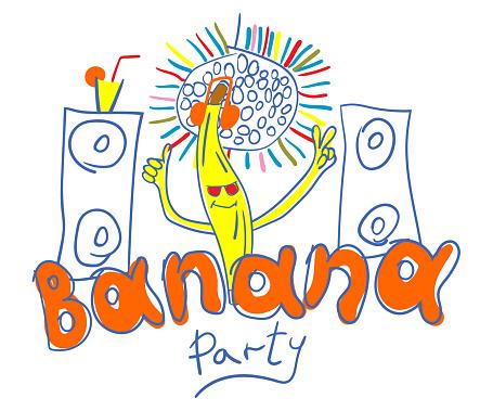 Typography slogan Banana party. Hand drawn vector illustration for t shirt print.