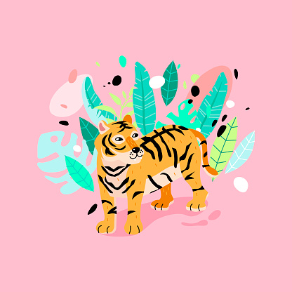 Typography slogan with striped tiger illustration.