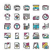 Typography or polygraphy symbols color linear vector icon set. Outline symbol collection includes printing, color palette, scanning, souvenir, promotional products, advertising, graphic design concept
