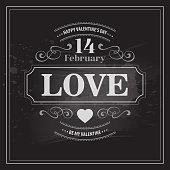 Typography Valentine's Day cards. Caption chalk on a blackboard