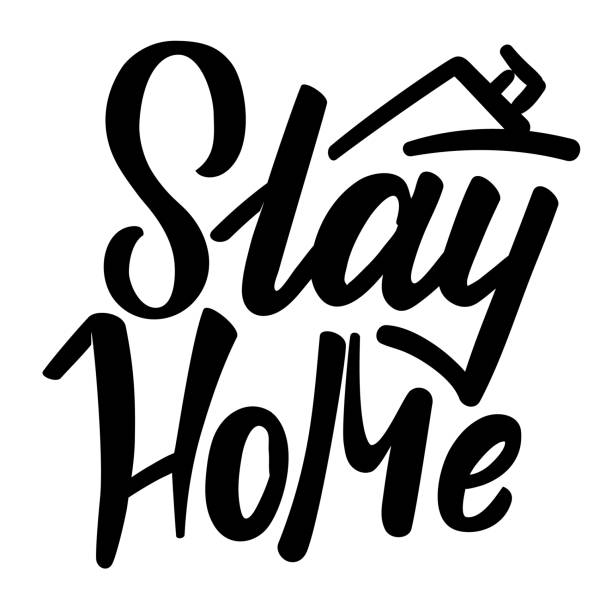 Typography with motivational message Stay home. Isolation, coronavirus concept. Black and white lettering. Vector vector art illustration