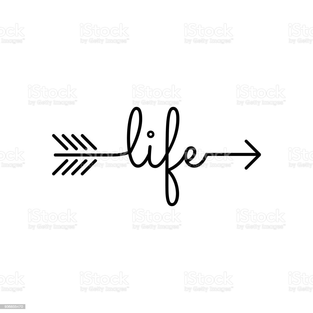 typography word life starts an ends with arrow stock vector art rh istockphoto com
