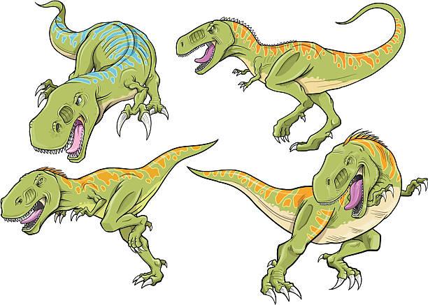 Tyrannosaurus Dinosaur Set vector art illustration
