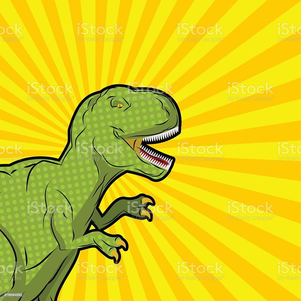 Tyrannosaurus pop art style. Angry prehistoric reptile. Ancient vector art illustration