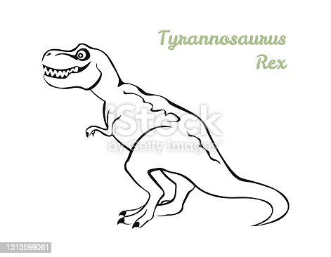 istock Tyrannosaurus Rex black and white outline. Vector illustration of dinosaurs, icon. 1313599061