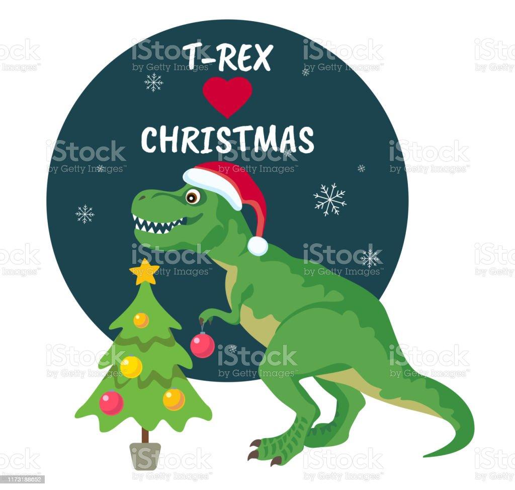 T Rex Christmas.Tyrannosaurus Rex Christmas Card Dinosaur In Santa Hat