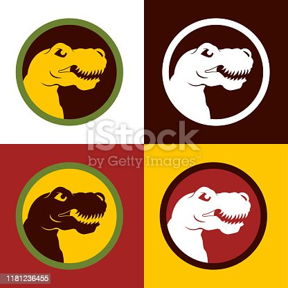 Vector illustration with a colourful set of Tyrannosaurus Rex Clip Art Icon