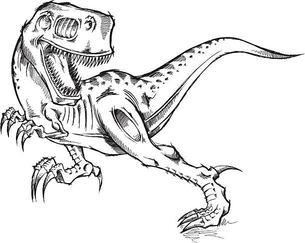 Tyrannosaurus Rex Dinosaur Doodle Sketch vector art illustration