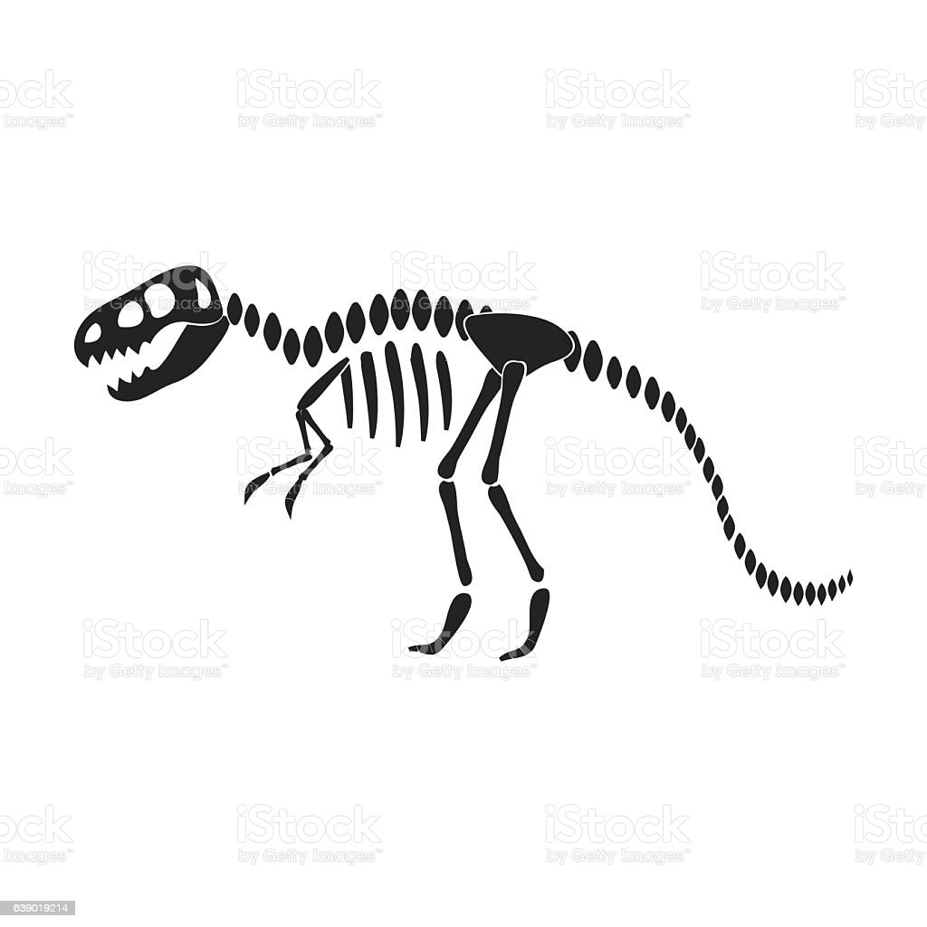 Tyrannosaurus rex icon in black style isolated on white backgrou vector art illustration