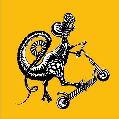 Tyrannosaurus Rex is riding on a kick scooter. Vector graphic illustration, tattoo style.