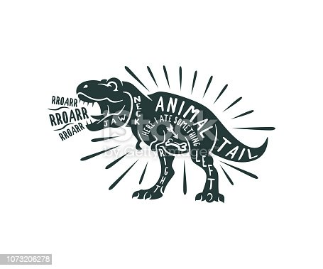 Tyrannosaurus Rex typography out of words, retro and vintage style, print for T-shirt and design. Dinosaur, animals, wildlife and nature, vector design and illustration