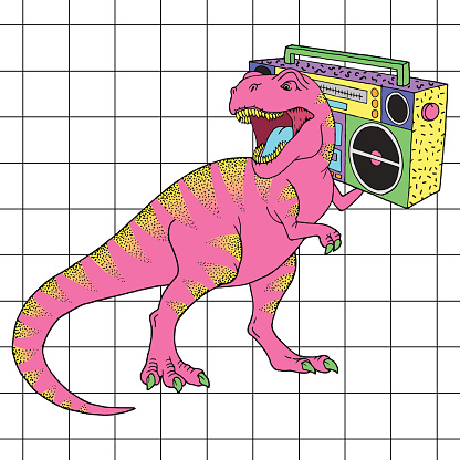 Tyrannosaurus Rex with boombox in retro 80s style. Vector illustration