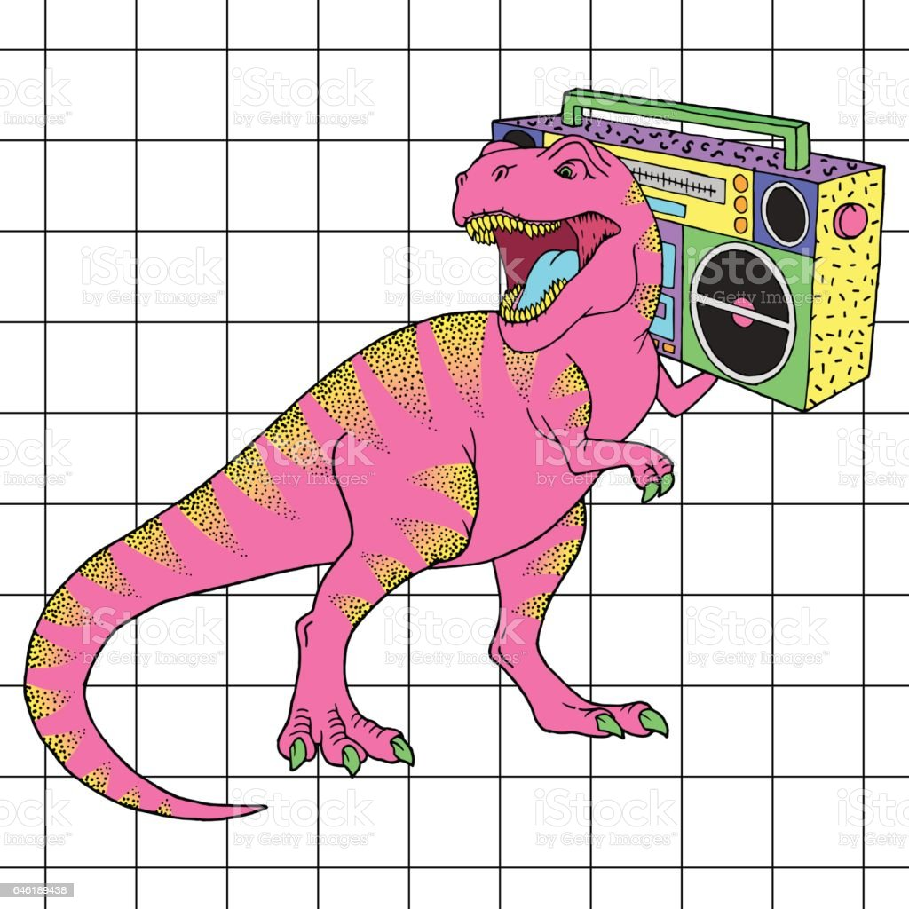 Tyrannosaurus Rex with boombox in retro 80s style. Vector illustration vector art illustration