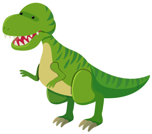 tyrannosaurus rex mit scharfen zähnen - eiszeit stock-grafiken, -clipart, -cartoons und -symbole