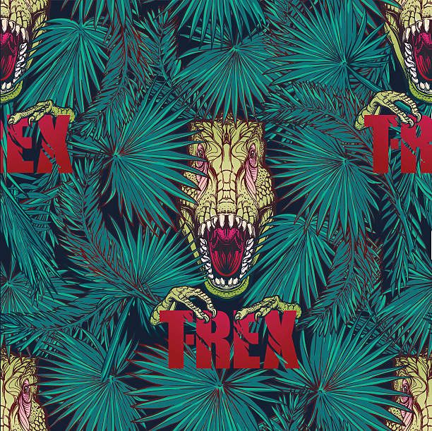 tyrannosaurus roaring head in tropical leaves pattern - fossilized leaves stock illustrations