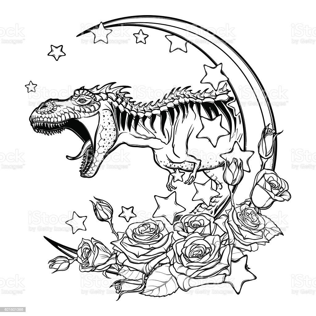 Schizzo Tirannosauro su sfondo bianco ruggenti schizzo tirannosauro su sfondo bianco ruggenti - immagini vettoriali stock e altre immagini di animale royalty-free