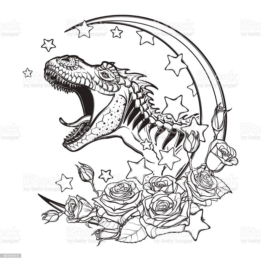Tyrannosaurus roaring croquis sur fond blanc tyrannosaurus roaring croquis sur fond blanc – cliparts vectoriels et plus d'images de animal disparu libre de droits
