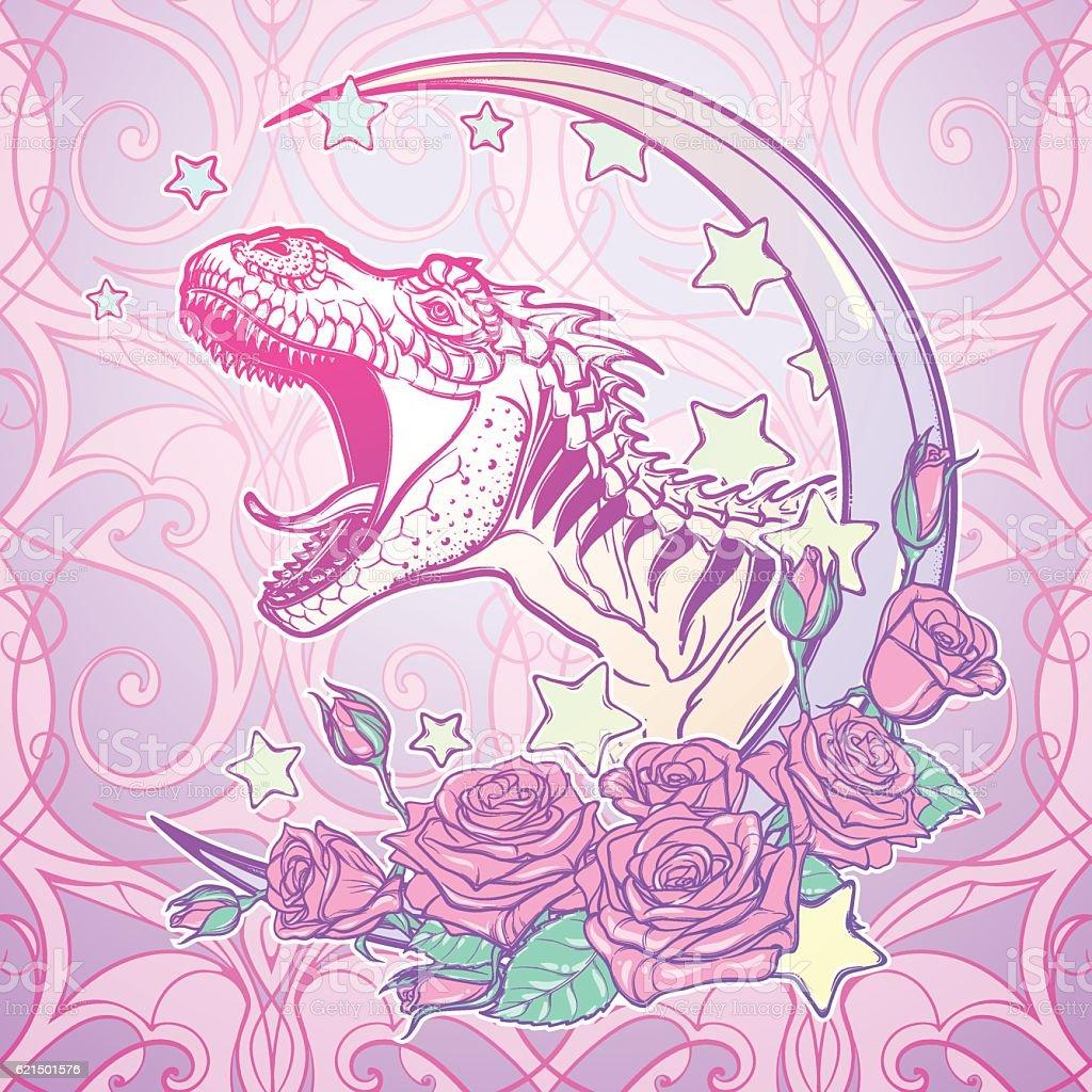 Tyrannosaurus roaring with moon and roses frame Lizenzfreies tyrannosaurus roaring with moon and roses frame stock vektor art und mehr bilder von ausgestorbene tierart