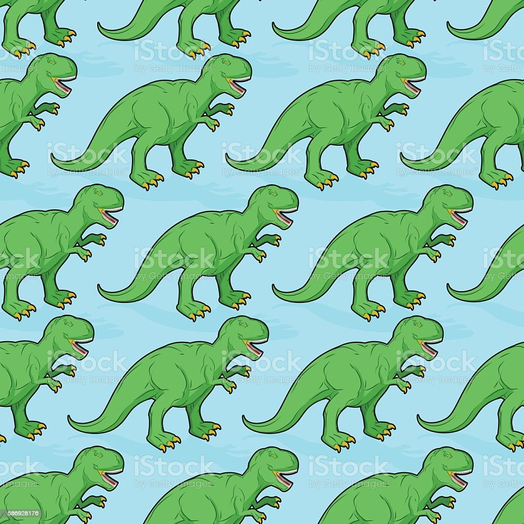 Tyrannosaurus seamless pattern. Angry prehistoric reptile patter vector art illustration