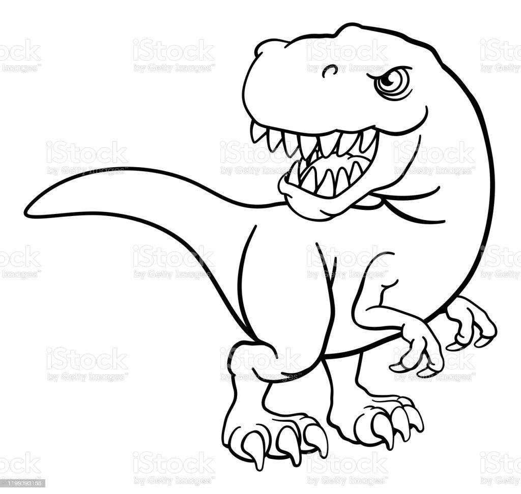 tyrannosaurus t rex dinosaurier cartoon charakter stock