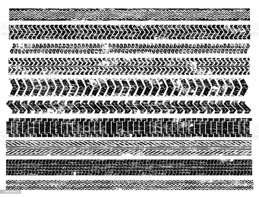 Tyre Tracks vector art illustration