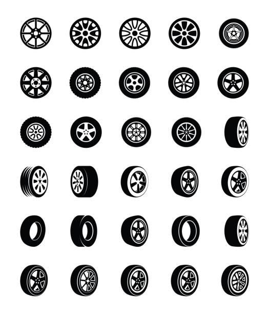ilustraciones, imágenes clip art, dibujos animados e iconos de stock de neumáticos glifo vector iconos conjunto - tires