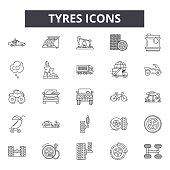 Tyres line icons, signs set, vector. Tyres outline concept, illustration: tire,black,tyre,car,wheel,auto,isolated