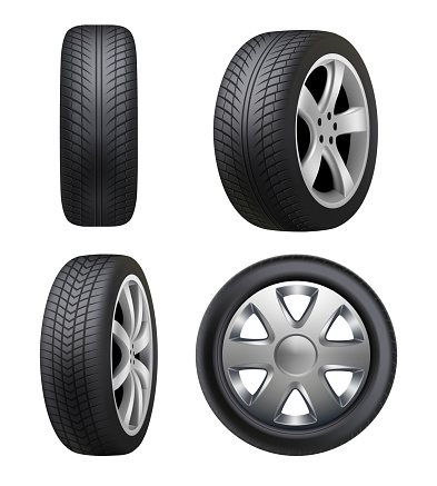 Tyres realistic. Automobile wheeling vector tyres for cars pictures isolated
