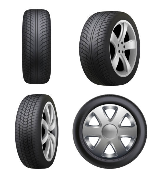Tyres realistic. Automobile wheeling vector tyres for cars pictures isolated Tyres realistic. Automobile wheeling vector tyres for cars pictures isolated. Illustration tyre automobile, wheel auto rubber, car vehicle transportation tired stock illustrations