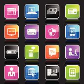 Illustration of different home banking related icons.