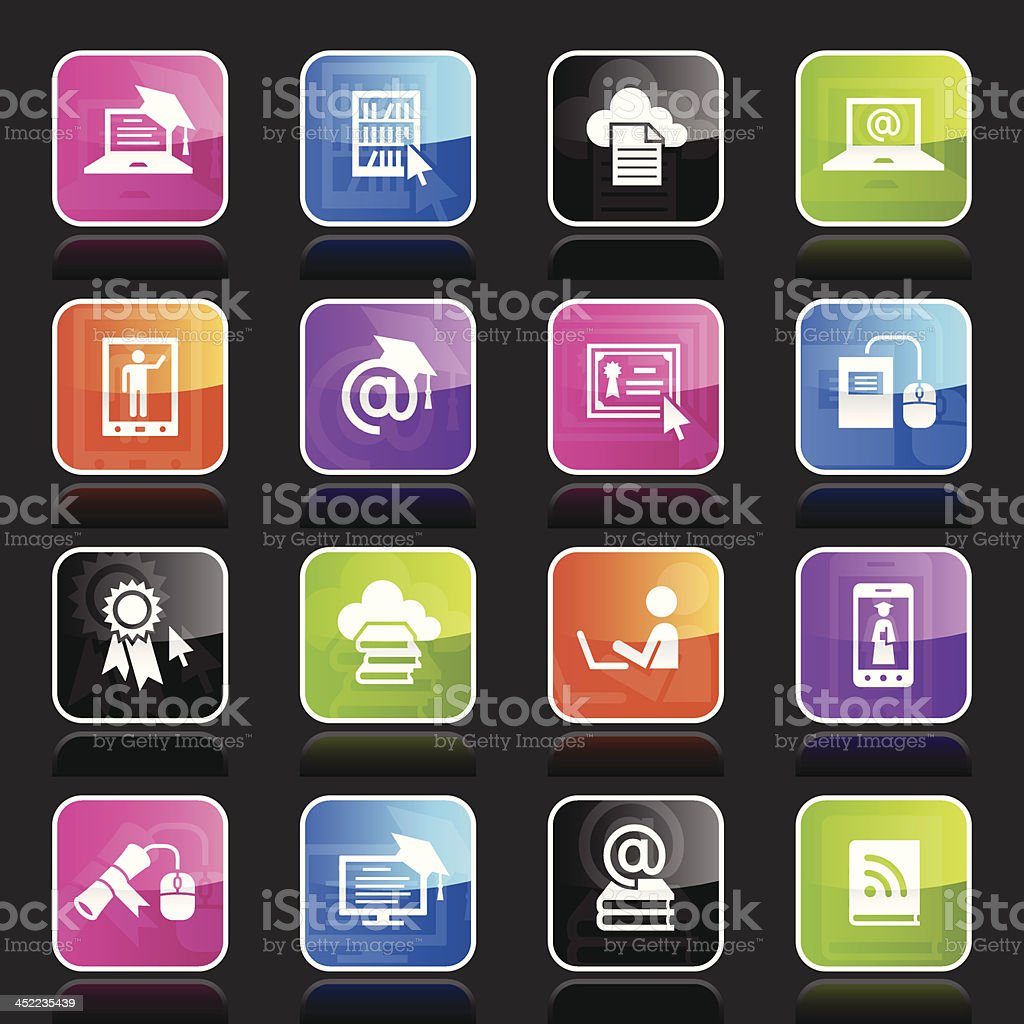 Ubergloss Icons - Online Education royalty-free stock vector art