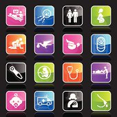 Illustration of multicolor pregnancy & childbirth icons.
