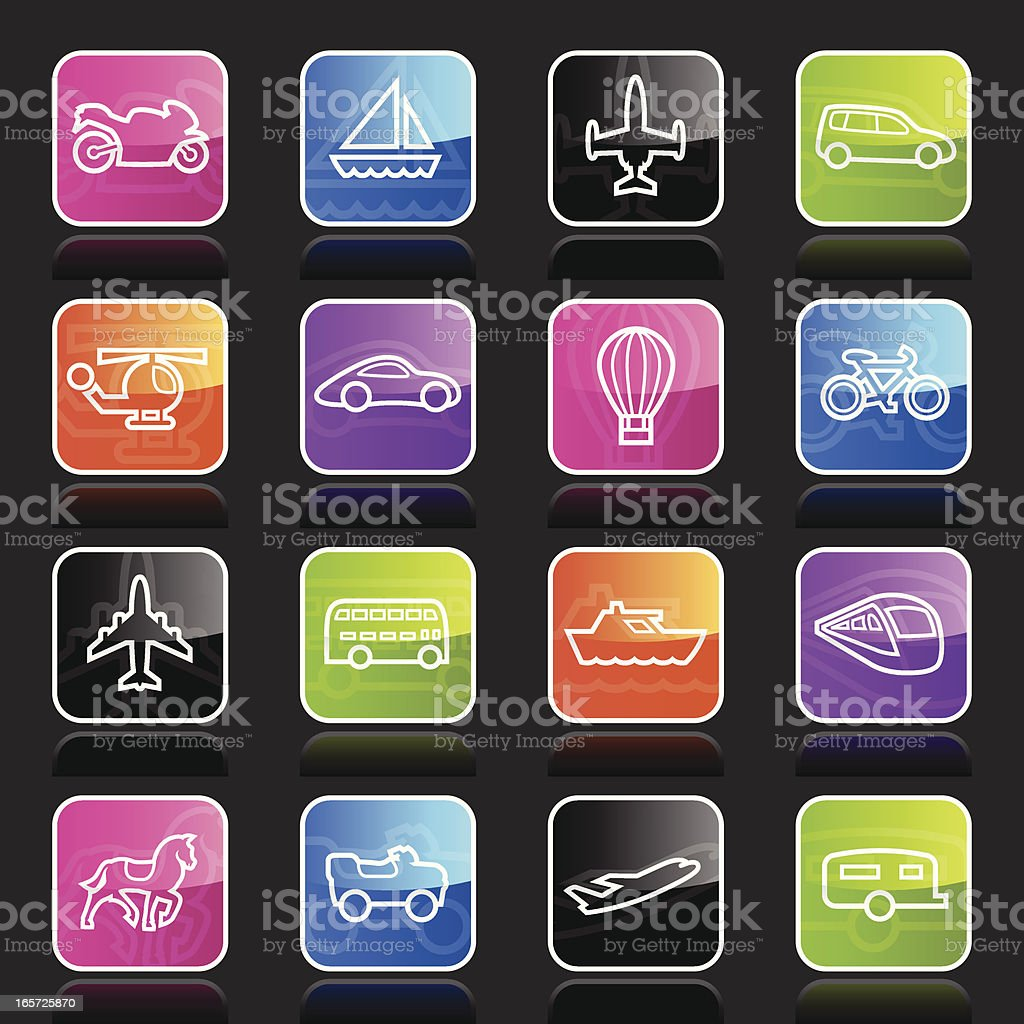 Ubergloss Icons - Transportation Outlines royalty-free stock vector art