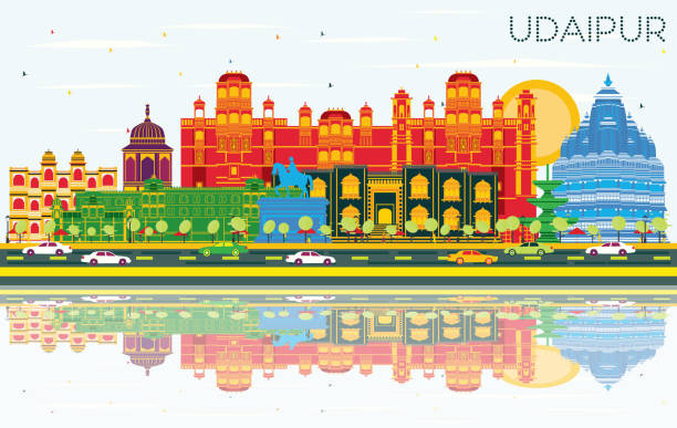 Udaipur India City Skyline with Color Buildings, Blue Sky and Reflections. Udaipur India City Skyline with Color Buildings, Blue Sky and Reflections. Vector Illustration. Business Travel and Tourism Concept with Historic Architecture. Udaipur Cityscape with Landmarks. udaipur stock illustrations