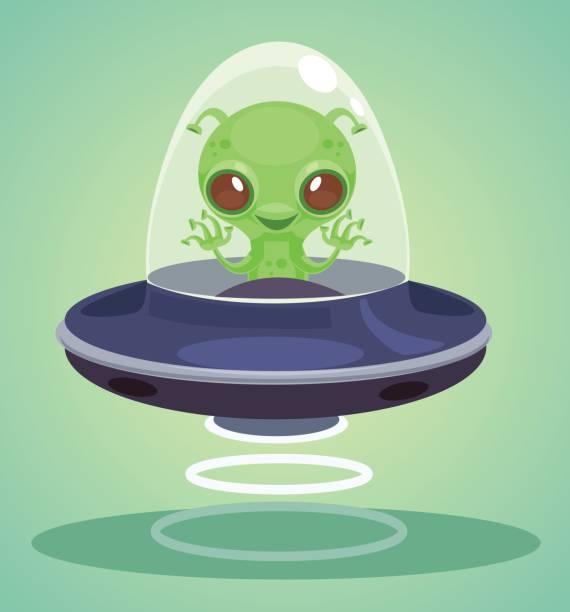Ufo alien character vector art illustration