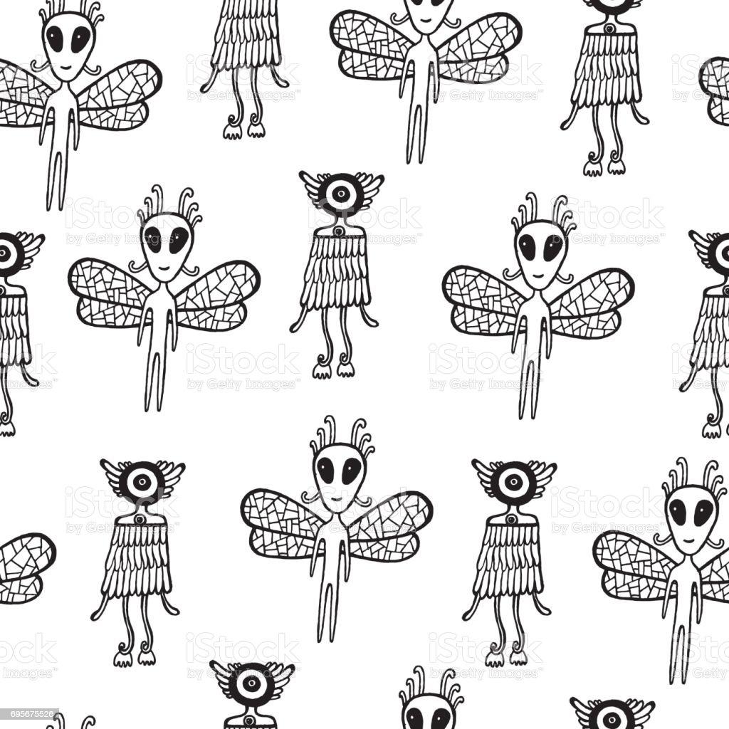 Ilustración de Ufo Alien De Patrones Sin Fisuras Dibujado A Mano ...