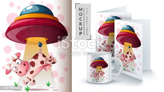 Ufo, cow - mockup for your idea