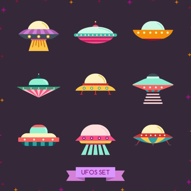stockillustraties, clipart, cartoons en iconen met ufo platte pictogramserie. schoon en eenvoudig ontwerp. - ufo